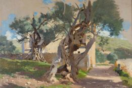 Dresdner Maler (um 1884)San Antonio,Tivoli. Bauernhaus und Olivenhain. Ortsbez. u. Datum Tivoli