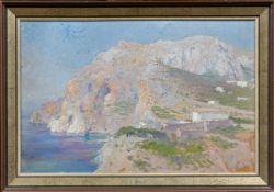 Deutscher Maler in Italien (Anf. 20. Jh.)Capriin gleißendem Sonnenlicht. Hartfaserplatte. Ca. 32,5×