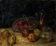 Binder, Oskar (München, Berg 1891-1969)StilllebenKorb mit Äpfeln, Kupferkanne und Krug. Sign. Lwd.