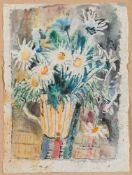 Berend-Corinth, Charlotte (Berlin, New York 1880-1967)Margeritenstrauß in gestreiftem Krug1960.