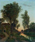 Bennewitz von Loefen, Karl (Thorn, Eutin 1826-1895)AbendrotHochgelegenes Bauernhaus über sumpfigen
