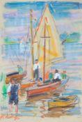 Adametz, Heinrich Emil (Düsseldorf, Berlin 1884-1971)Segelboote, Motoryacht und Fischer, Netze