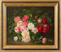 Blokland, Mathilde van (1851-1917)Rote und weiße RosenSchmetterling. Sign. Lwd. Ca. 45×55 cm. R.(