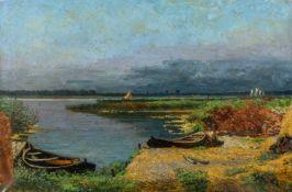 Gscheidel, Martin (1857-1945)PommernGroßer See mit schilfbewachsenem Ufer, Ruderbooten und in der