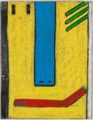 Dumler, Hans (geb. 1922 Köln, lebt in Utting am Ammersee)Blau auf GelbMalkarton. Ca. 12×9,7 cm.