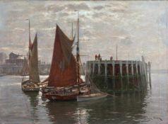 Günter, Erwin (Hamburg, Düsseldorf 1864-1927)Im Hafen von OstendeAn Mole ankernde Segelboote.