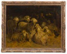 Brendel, Albert (Berlin, Weimar 1827-1895)SchafstallHerde, den Aufbruch zur Weide erwartend. Lwd.