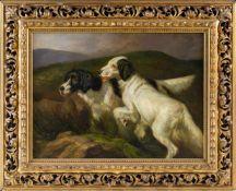 Englischer Tiermaler (2. H. 19. Jh.)Zwei Setter,aufmerksam auf ein Kommando wartend in Landschaft.
