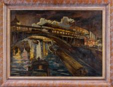 Bató, Jósef (Budapest, London, 1888-1966)Berlin, Bahnhof Friedrichstraße1926. Sign. u. dat. Lwd. Ca.