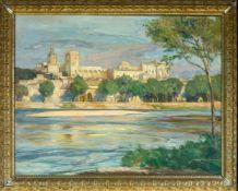 Eschke, Richard (Berlin, Jüterbog 1859-1944)Der Papstpalast in AvignonSign. Lwd. Ca. 61×78 cm.
