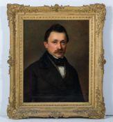 Biedermeier-Maler (Mitte 19. Jh.)Zwei Brustbildnisse eines EhepaaresSie in taubenblauem
