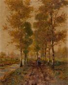 Fey, Carl (Düsseldorf, 1867-1939)Herbst am BachSign. u. Ortsbez. D(üssel)d(or)f. Lwd. Ca. 54,5×42