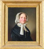 Biedermeier-Porträtist (um 1840)Zwei Brustbildnisse eines EhepaaresSie in schwarzem Seidenkleid