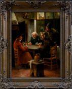 Adam, Joseph (1883-1954)Eleganter Kartenspieler,mit Bauern sein Glück versuchend. In Interieur.