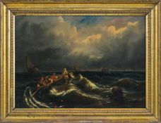 Englischer Maler (2. H. 19. Jh.)Gewitter über dem MeerVollbesetztes Ruderboot gegen Wellenberge