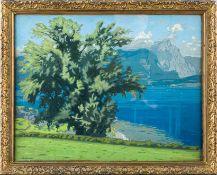 Bauriedl, Otto (1881-1961)GardaseeSign. Gouache. Ca. 36,5×46,5 cm. Rückseitig Klebezettel mit