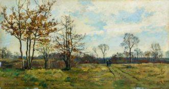 Damoye, Pierre-Emmanuel (Paris 1847-1916)Herbstliche Waldlandschaft bei CompiègneAuf dem Wiesenweg