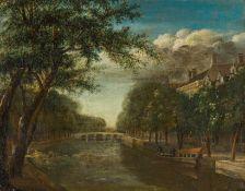 Holländisch (1. H. 19. Jh.)Befestigter Flusslauf mit Bogenbrücken und zwei BootenAm Ufer blühende