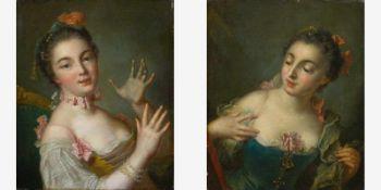 Französischer Maler (E. 18. Jh.) , nach BoucherZwei Damenporträts Mit dekolliertem Kleid,
