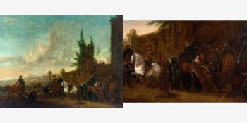 Verburgh, Dionijs (Rotterdam, um 1655-1722)Rast auf der FalkenjagdDrei Reitergruppen vor einem