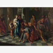 Holländisch (17. Jh.)Christus und die EhebrecherinVielfigurige Szene in der Vorhalle des Tempels.