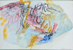 Appelt, Dieter (geb. 1935 Niemegk)Ohne Titel, 1984Tusche auf dünnem, welligem Papier. 27×39 cm.
