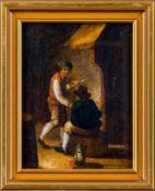 Holländisch (18. Jh.)Interieur mit zwei Männern vor einem KaminDer eine, ein Jüngling, raucht Pfeife