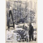 Adametz, Heinrich Emil (Düsseldorf, Berlin 1884-1971)Hafenszenen mit Schiffsexplosion,
