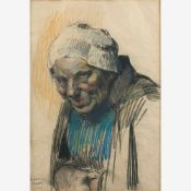Bartels, Wera von (München 1886-1922)Bäuerin1911Brustbildnis. Kohle und Pastell. Sign. u. dat. Ca.