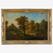 Berliner Landschaftsmaler (um 1830/40)Parklandschaftmit unter Baum rastendem Hirten, an Teichufer