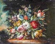 Blumenmaler, nach älterem VorbildBunter BlumenstraußUnlesbare Signatur. Lwd. 24×30 cm. R.(55585)