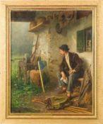 Bever, Hermann (Würzburg, München 1845-1912)Ein kritischer BlickWandernder Maler mit seinen
