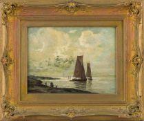 Asmus, Eugen (Düsseldorf, nachweisbar um 1930)Flache Küstemit ankernden Segelbooten und