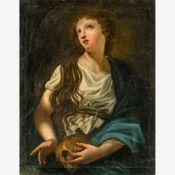 Bologneser Maler (17. Jh.)Hl. Magdalena mit dem SchädelDen Blick nach oben gerichtet. Lwd. (
