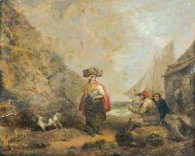 Flämischer Maler in Italien (E. 18. Jh.)Meeresbucht mit Wäscherin und feiernden MatrosenSegelboot