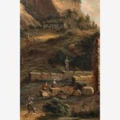Süddeutsch (um 1700)Südliche Hügellandschaftmit Ruine einer befestigten Bogenbrücke über sanftem