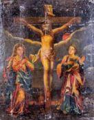 Christus am KreuzNächtlicher Kalvarienberg mit Maria und Johannes. Nach älterem Vorbild. Holz. 47,