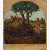 Amberg, Wilhelm (Berlin 1822-1899)Andächtiger Mönchunter Pinie in Klostergarten. Öl a. Papier, a.