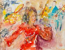 Bomstein, J. (um 2002)Jazzsängerin Dee Dee Bridgewatermit Band on tour 2002. Die Sängerin, Drummer