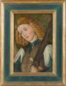 Deutsch (um 1500)Erzengel Michaelmit blondem lockigem Haar, ein gezücktes Schwert über der linken