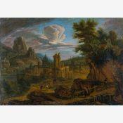 Unbekannter Maler (17. Jh.)Ankunft in LyonStadtansicht in Felsenlandschaft mit Wanderern und Mönchen
