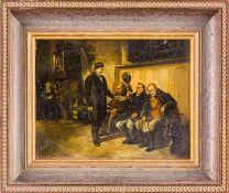 Aichinger, Albert (geb. 1866 München) , wohlKollekteMännliche Kirchenbesucher auf Bank, die ihnen