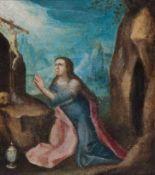 Süddeutsch (17. Jh.)Büßende Hl. Magdalenavor Höhleneingang kniend. Vor ihr Kruzifix, Salbgefäß und