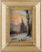 Alberti, A. (um 1909)Winterliche Waldpartie mit Holzstapel und SonnenballSign. u. dat. Lwd. 28×21
