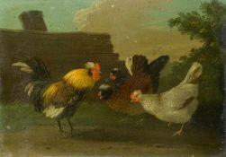 Monogrammist JAE (um 1800)Hühnervolk beim Picken im BauernhofUnd: Hühner bei der Paarung. Monogr.