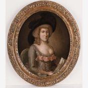 Englischer Maler (E. 18. Jh.)Porträt einer Dame mit LiebesbriefSitzend in grauem Seidenkleid mit