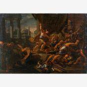 Unbekannter Maler (16. Jh.)Überfall der Barbaren auf römische SoldatenIm Hintergrund Forum Romanum