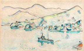 Hauptmann, Ivo (Erkner bei Berlin, Hamburg 1886-1973)Rapallo1928Stadtpanorama vom Wasser gesehen mit