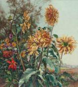Herrmann, Willy (Berlin 1895-1963)Verblühte Chrysanthemen vor WiesenlandschaftSign. Lwd. 90×100