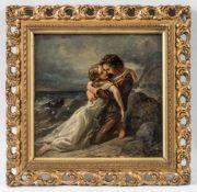 Düsseldorfer Maler (um 1850)Paul, die ertrunkene Virgenie in den Armen haltendAn Meeresküste. Öl